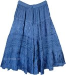 Bali Mid-Length Western Style Rayon Skirt Blue