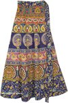 Navy Blue Wrap Skirt with Colorful Peacock Designs