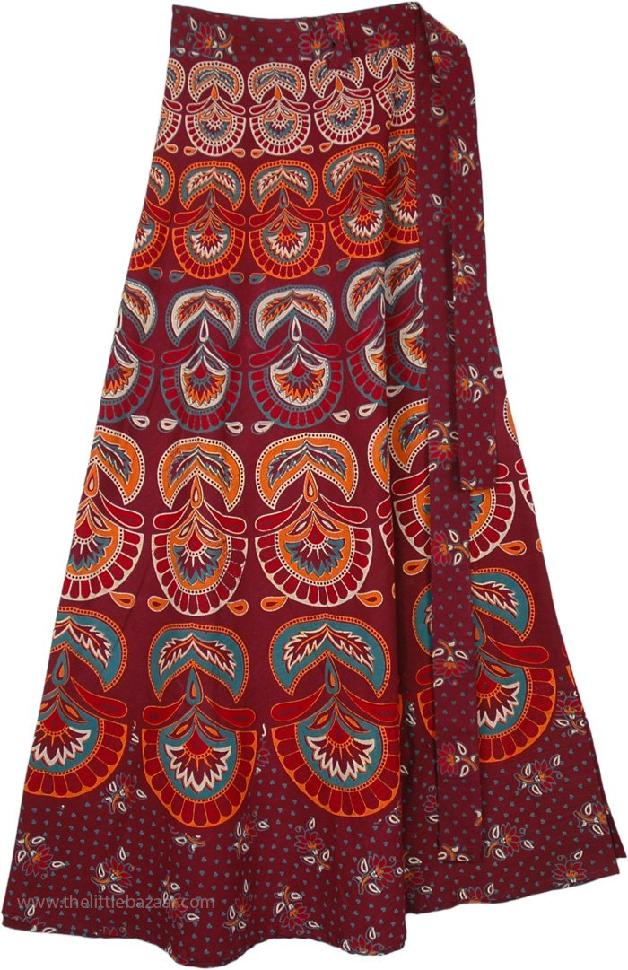 Ethnic Block Print Wrap Skirt in Firebrick Red
