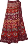 Ethnic Block Print Wrap Skirt in Firebrick Red