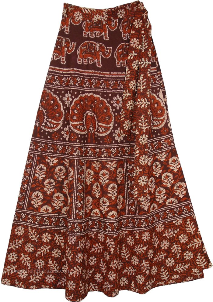 Brown Wrap Skirt with Block Printed Traditional Motifs