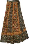 Army Green Paisley Floral Wrap Around Skirt