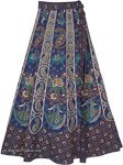 Dancing Girl Blue Wrap Skirt with Traditional Elephants