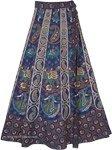 Dancing Girl Blue Wrap Skirt with Traditional Elephants