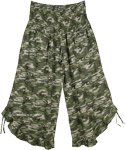 Camouflage Culottes Pants with Stylized Hem and Pockets
