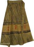 Bamboo Green Black Striped Bohemian Wrap Around Midi Skirt