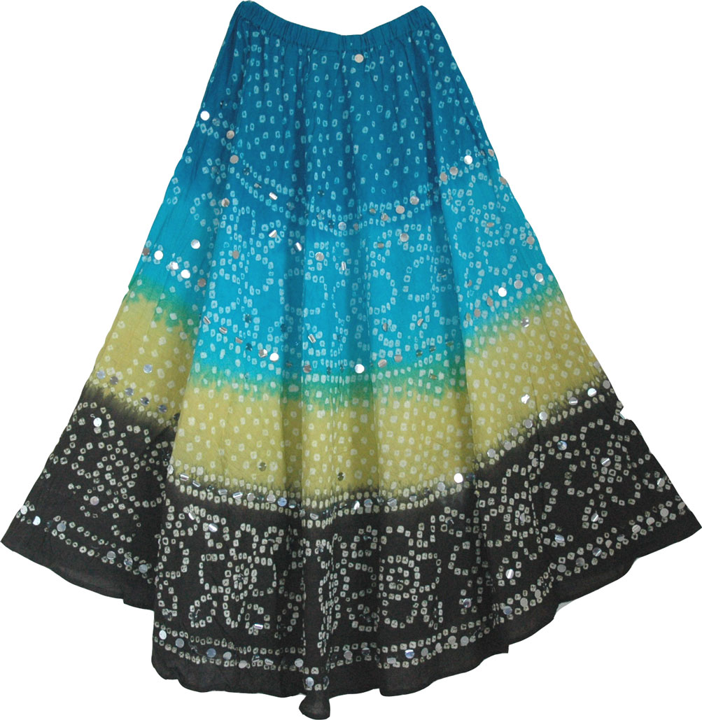 Boho Tie Dye Sequin Long Skirt
