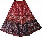 Red Tie Dye Sequin Long Skirt