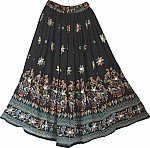Black Skirt with Block Print