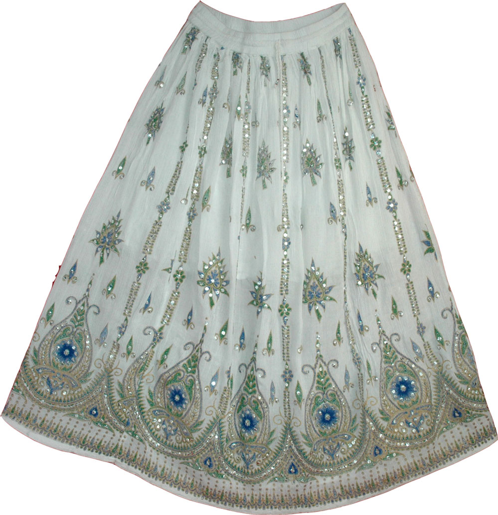 White Sequin Skirt with Floral Motifs
