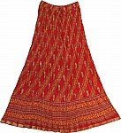 Red Womens Long Skirt with Crinkle