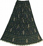 Dark Green Crinkle Long Skirt