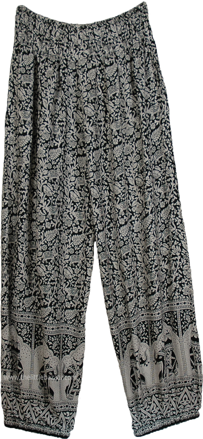 High Waist Loose Fit Gypsy Pants with Elephant Print