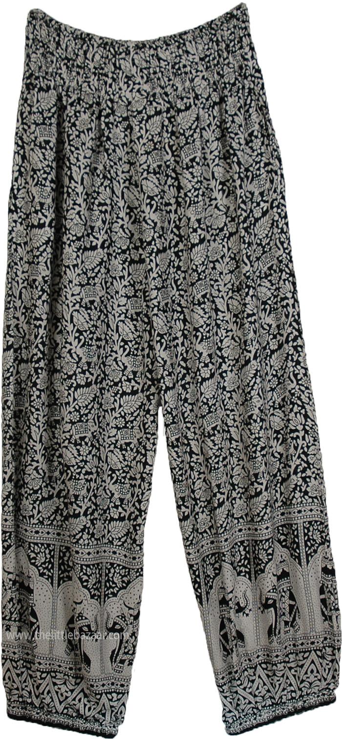 f6a07cac2 High Waist Loose Fit Gypsy Pants with Elephant Print | Black | Split ...