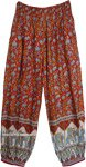 Gypsy Red Harem Pants with Blue Indian Elephant Pattern
