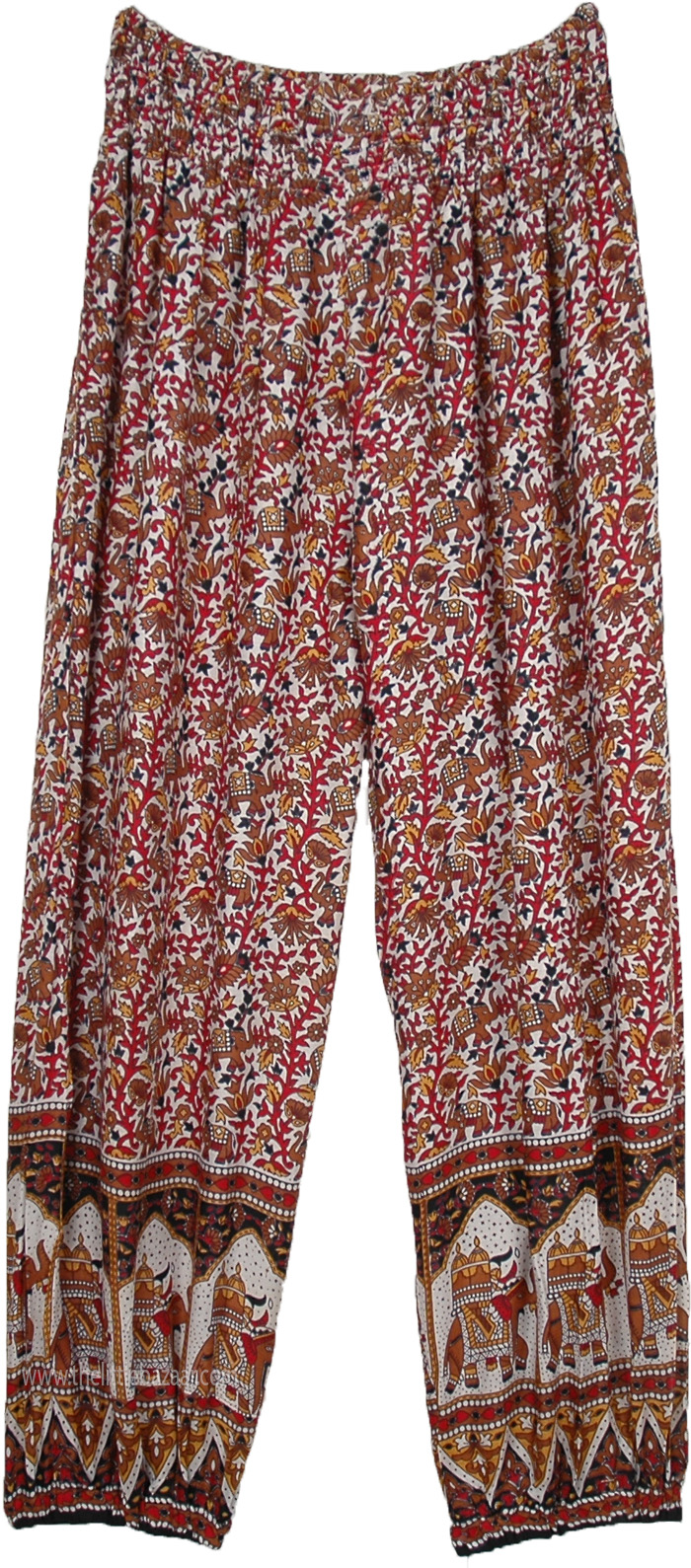 White Harem Pants with Traditional Elephant Print with Pockets