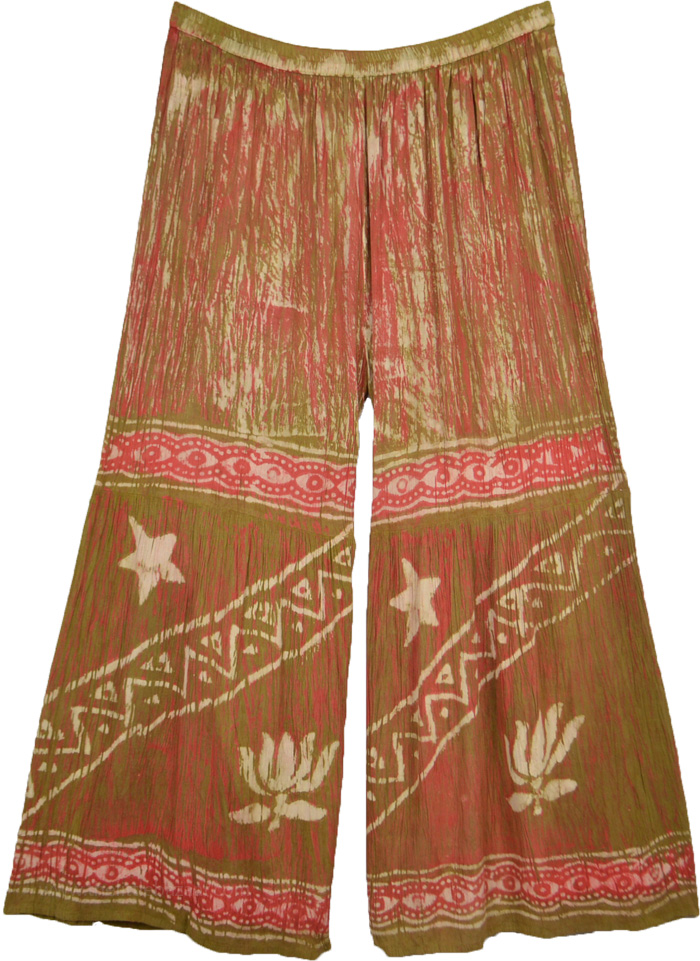 XL To 1X Caramel Candy Batik Wide Leg Palazzo Pants