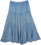 Carolina Blue Long Boho Skirt with Lace Details and Tiers