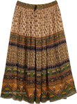Ethnic Gypsy Maxi Skirt with Floral Patterns in Beige