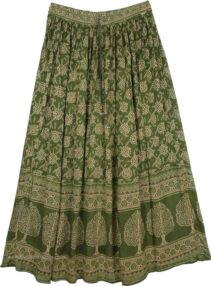Leaf Green Botanical Long Skirt with Intricate Tree Design