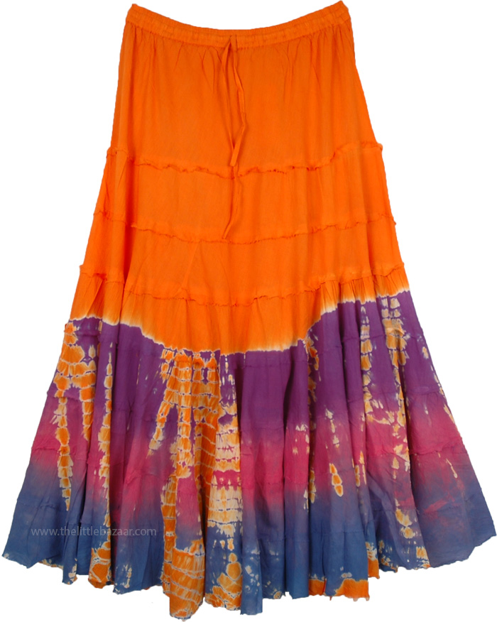 Tangy Orange Hippie Skirt with Tiers in Plus Size