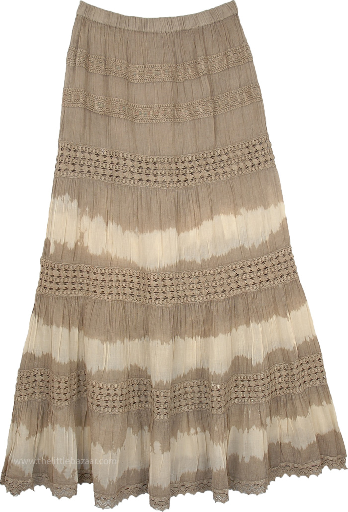 Malta Tiered Long Khaki Brown Skirt with Crochet Detail
