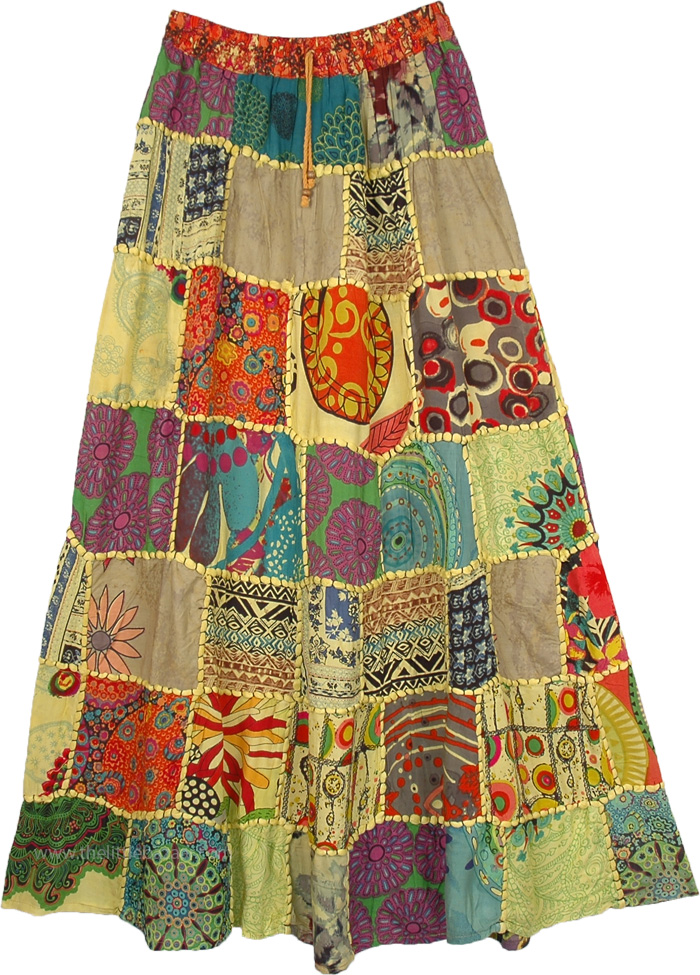 Thread and Patch Work Hip Gypsy Skirt in Banana Color