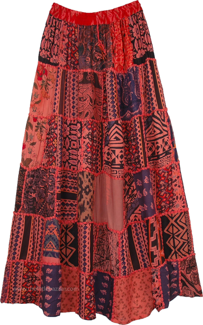 Spanish Punch Red Gypsy Patch Tribal Skirt