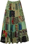 Pistachio Green Patch Work Long Tipsy Gypsy Skirt