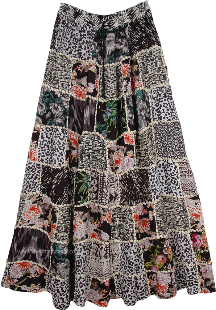 Black White Printed Patchwork Cotton Forever Gypsy Skirt
