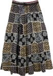 Indo Bohemian Long Skirt with Aztec Patterns