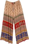 Indian Gypsy Loose Fit Pants in Peach with Leaf Print