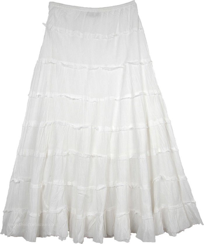 White Flared Long Cotton Skirt For Summer with Tiers
