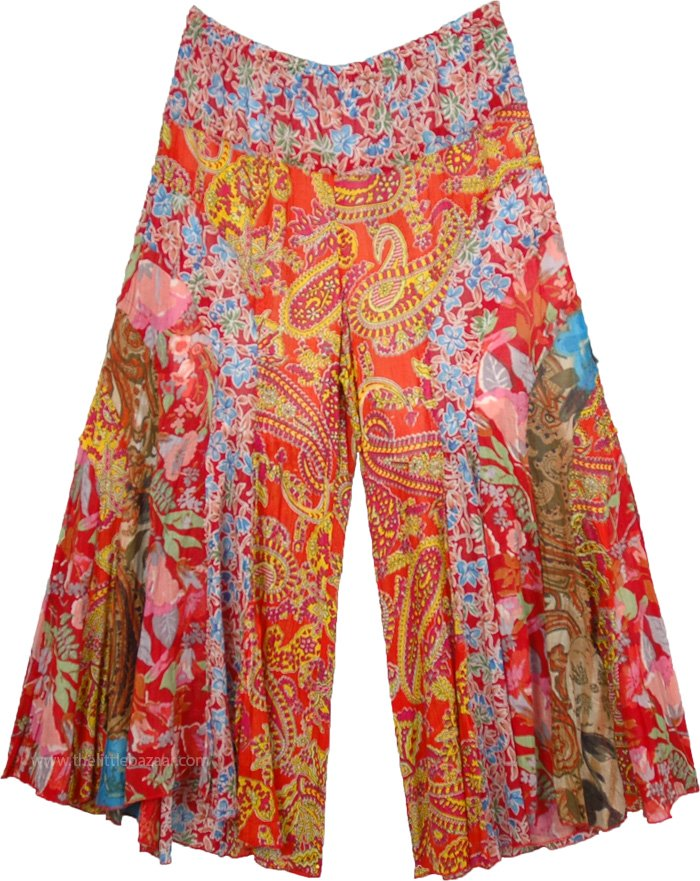 ff2d9da0b7 Wide Leg Bohemian Palazzo Pants with Vertical Patchwork | Red ...
