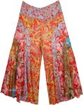 Wide Leg Bohemian Palazzo Pants with Vertical Patchwork