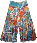 Summer Flowers Curved Patchwork Flared Wide Leg Pants