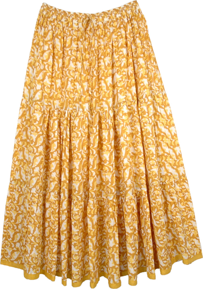 dcdb7a2626 Floral Spring Full Long Cotton Skirt For Summer Buttercup Yellow | Yellow |  XL-Plus, Misses, Maxi Skirt, Peasant, Printed