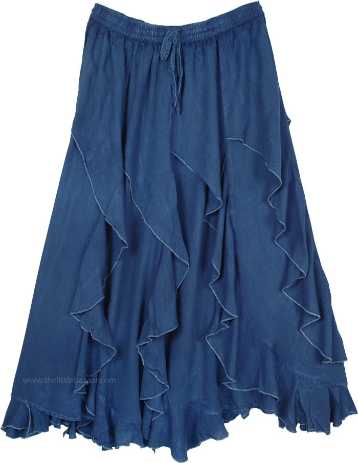 Indigo Blue Curved Tier Skirt with Ruffles and Asymmetrical Hem