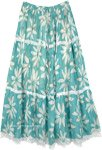 Sea Green Floral Printed Maxi Skirt with Lacework