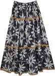 Charade Blue and White Printed Full Maxi Gypsy Skirt