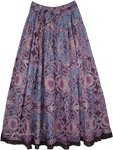 Indigo Blue and Purple Printed Full Maxi Gypsy Skirt