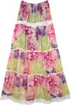 Bohemian Long Tiered Skirt in Pink and Green with Lace