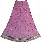 Pink  Crinkle Long Skirt