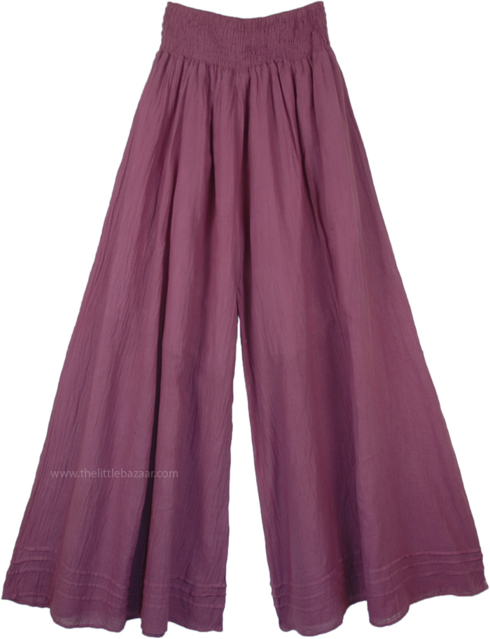 Wild Plum Wide Leg Cotton Palazzo Pants with Shirred Waist