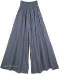 Steel Gray Palazzo Wide Leg Cotton Pants with Shirred Waist