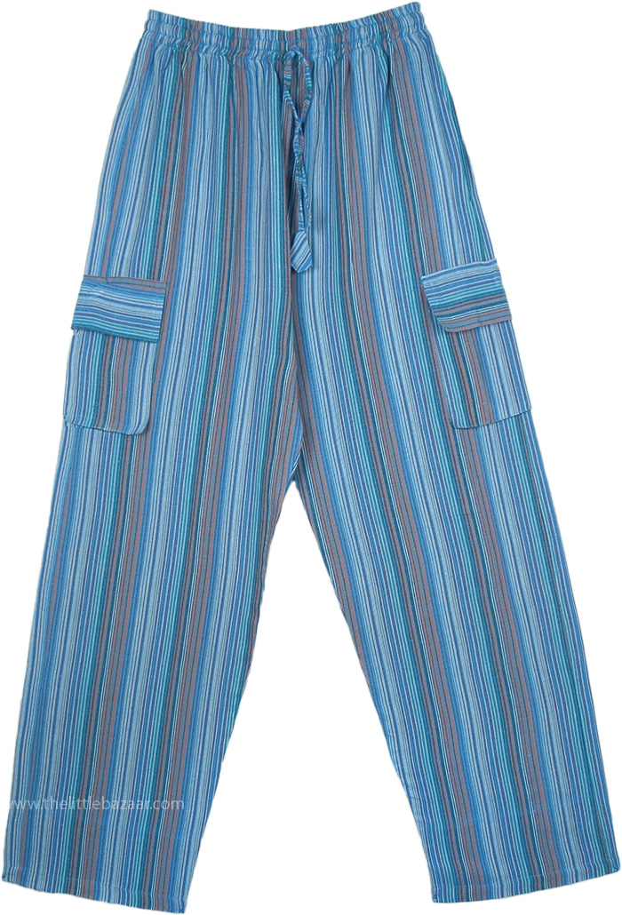 Blue Striped Cotton Unisex Bohemian Trousers with Pockets