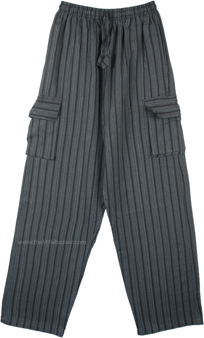 Grey Black Striped Cotton Unisex Boho Trousers with Pockets