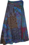 Egyptian Sapphire Blue Hippie Wrap Skirt Reversible Boho Wrap