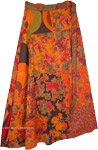 Reversible Hippie Wrap Skirt In Orange Floral Patchwork