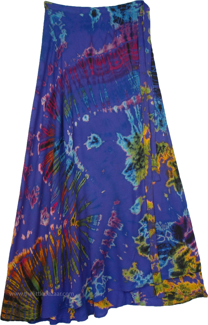 XXL Royal Blue Long Wrap Skirt with Marine Water Tie Dye